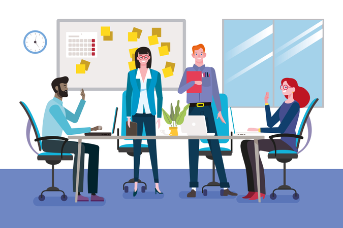 Group of young businessmen and women as a teamwork meeting around a table in conference room Illustration