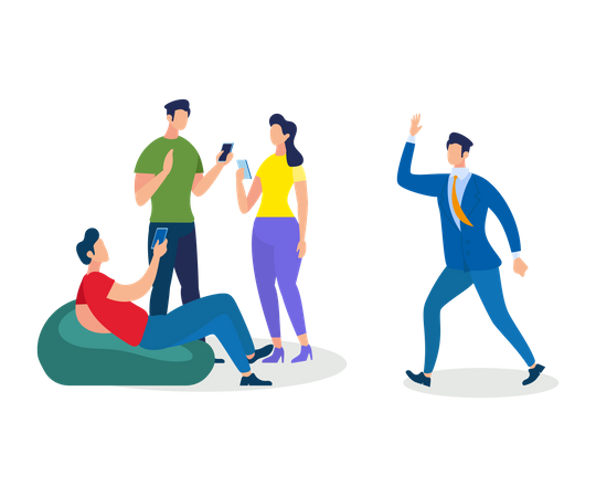 Group of Young People Work and Relaxing Together Illustration