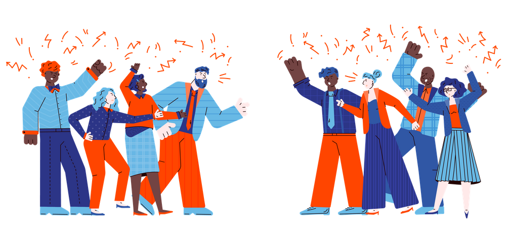 Groups of conflicting people quarrelling Illustration