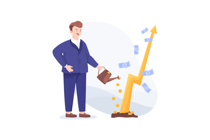 Grow profit and income Illustration