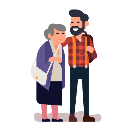 Grown up grandchildren with grandmother standing together Illustration