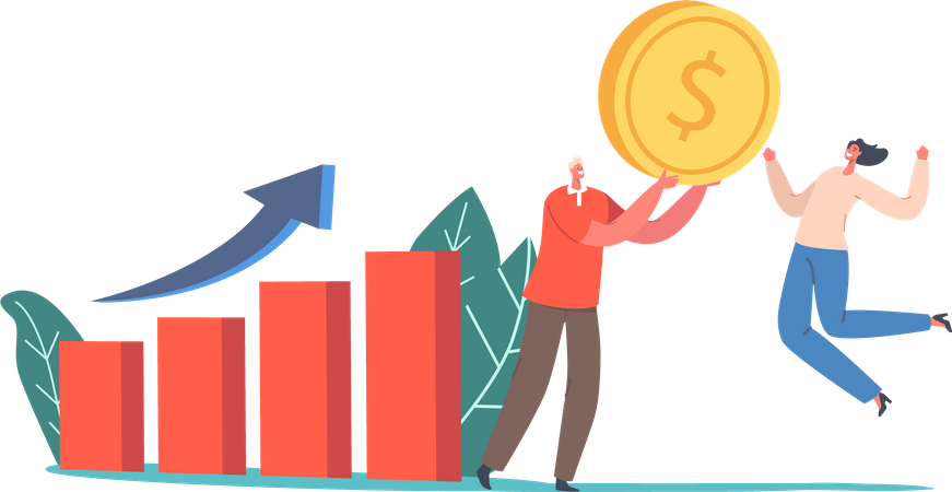 Growth Business Graph Illustration