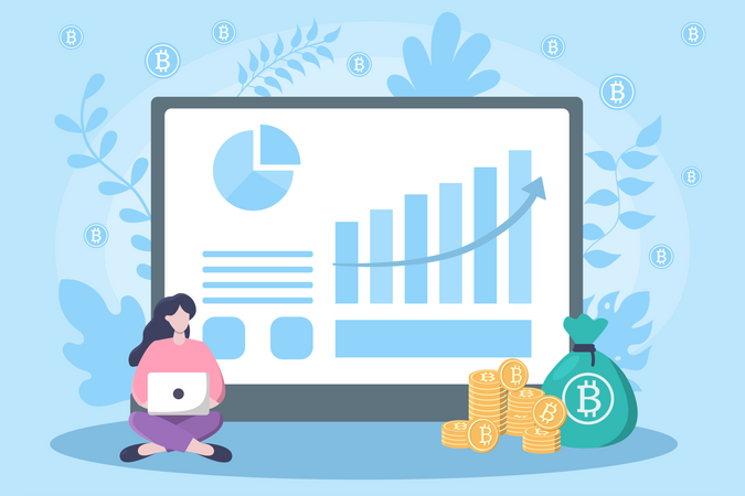 Growth in Bitcoin Investment Illustration