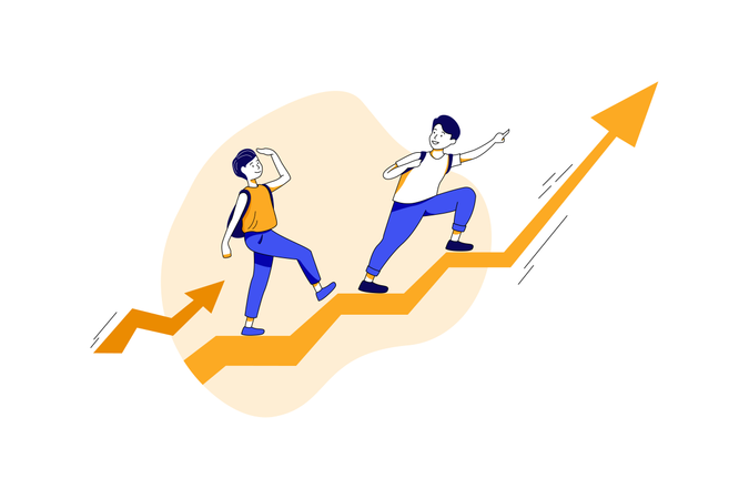 Growth of education with hard work Illustration