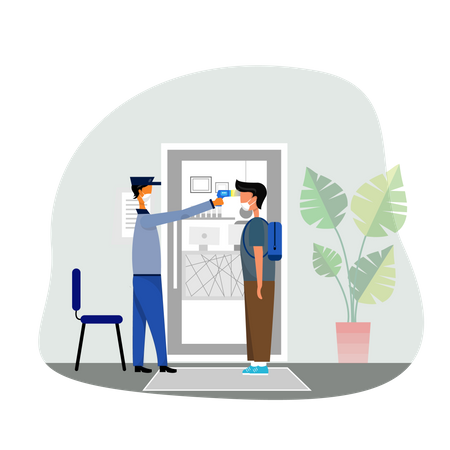 Guard checking temperature of employee with temperature gun Illustration