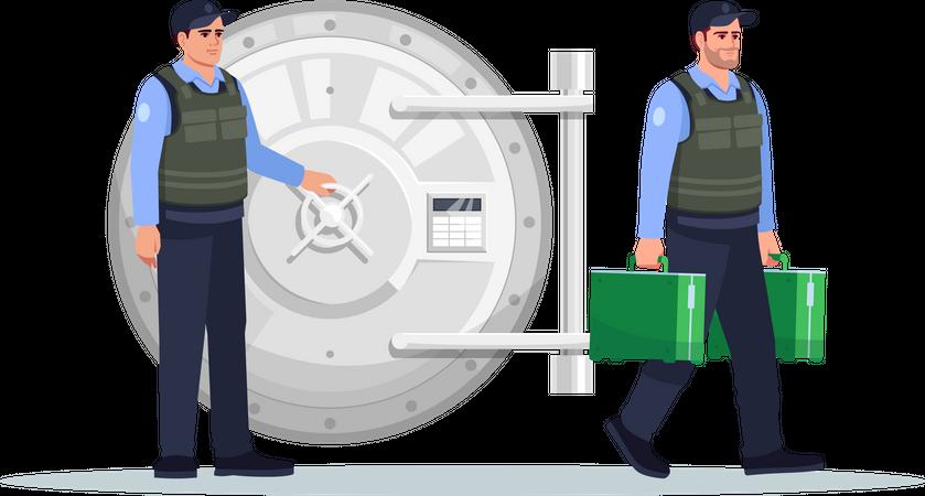 Guards near safe vault carrying money Illustration