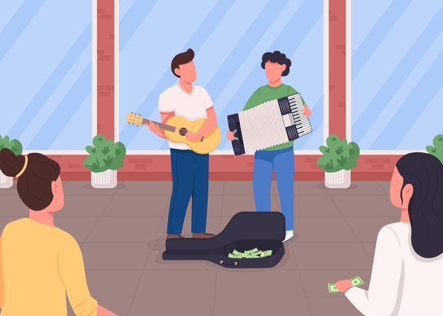 Guitarist and accordion player earn money Illustration