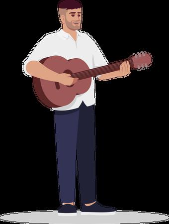 Guitarist giving performance Illustration