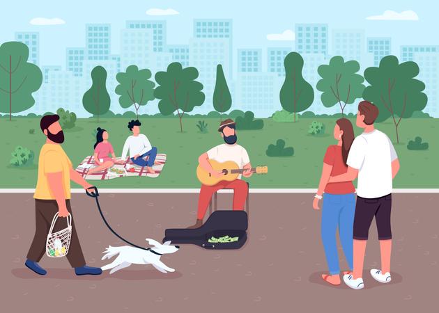 Guitarist on street Illustration