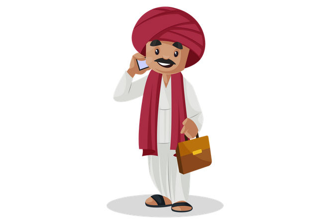Gujarati businessman talking over phone and carrying briefcase Illustration