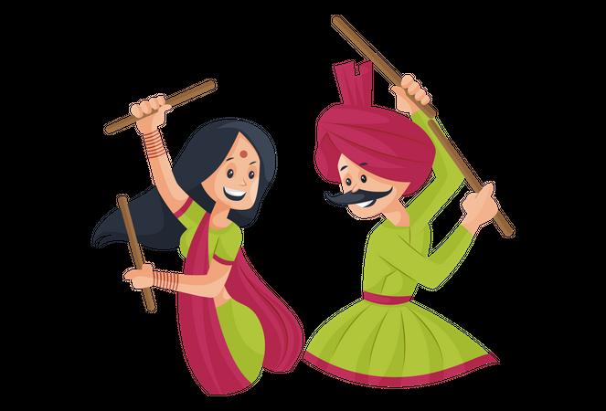 Gujarati Couple Playing Garba Illustration
