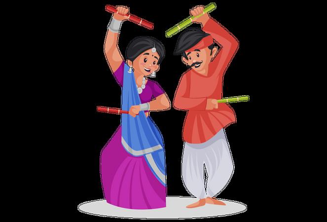 Gujarati couple playing raas garba Illustration