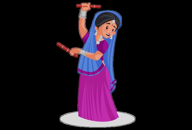 Gujarati female playing dandiya Illustration