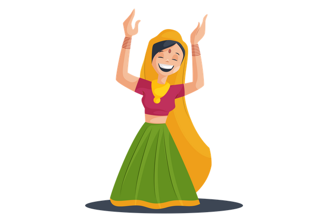 Gujarati Girl Playing or Dancing Garba with traditional clothes Illustration