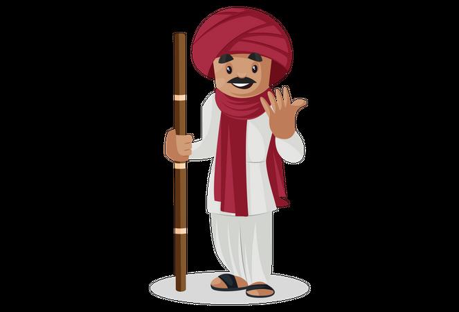 Gujarati man holding stick in his hand Illustration