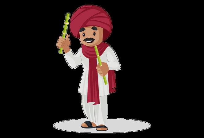 Gujarati man playing dandiya Illustration