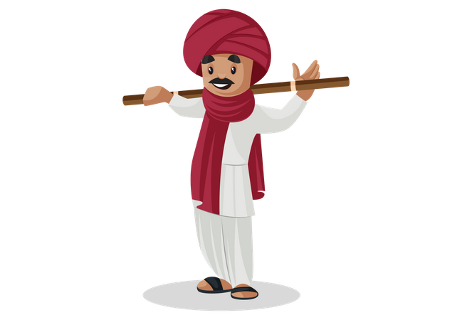 Gujarati man standing and placed stick on his shoulder Illustration