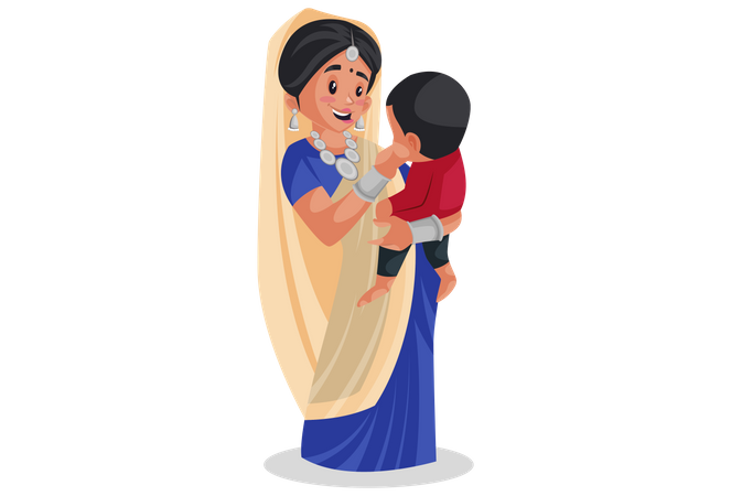 Gujarati woman holding baby in arms Illustration