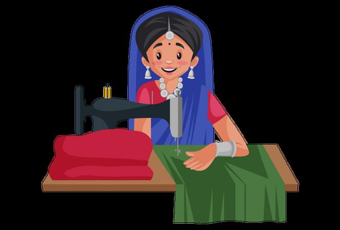 Gujarati woman is working on a stitching machine Illustration