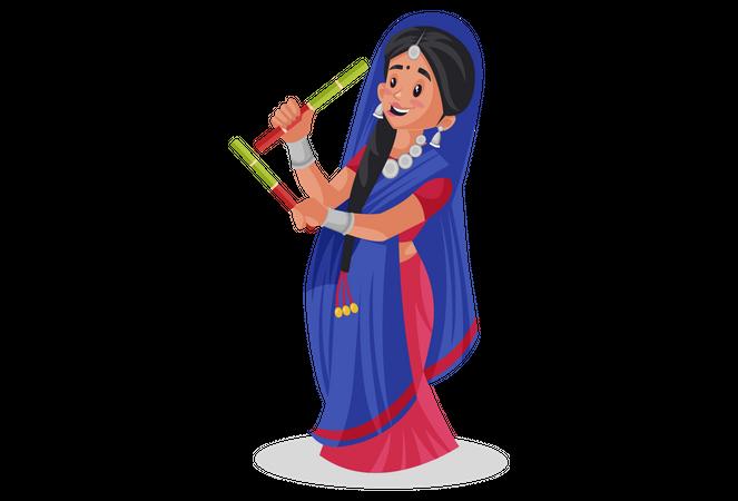 Gujarati woman playing garba Illustration