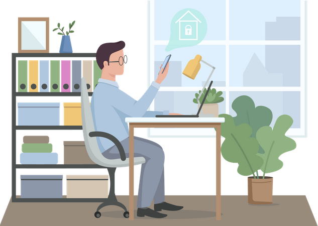Guy controlling smart home security at work Illustration