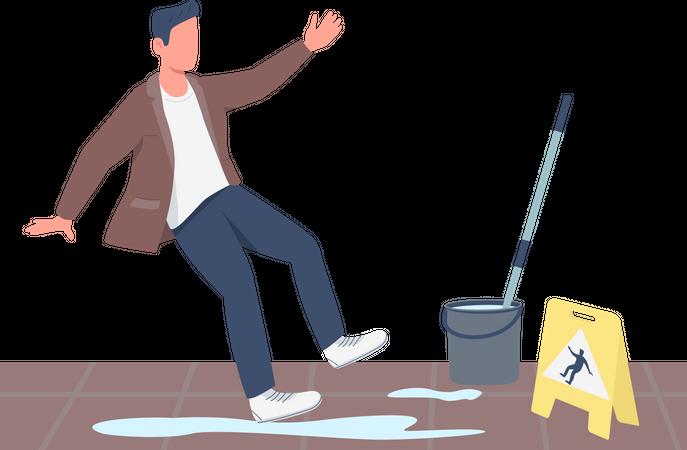 Guy falling near wet floor sign Illustration