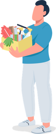 Guy holding cleaning supplies Illustration