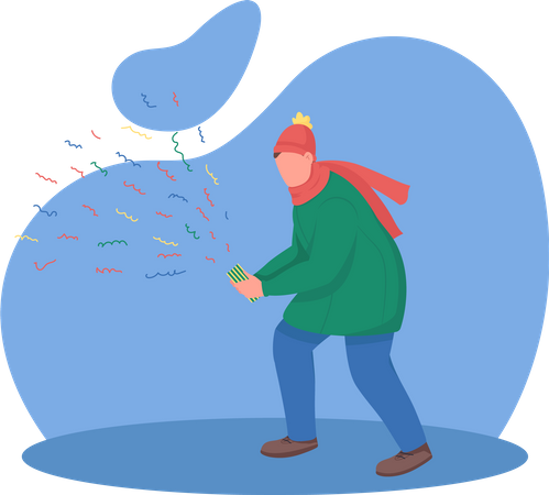 Guy holding confetti cracker Illustration