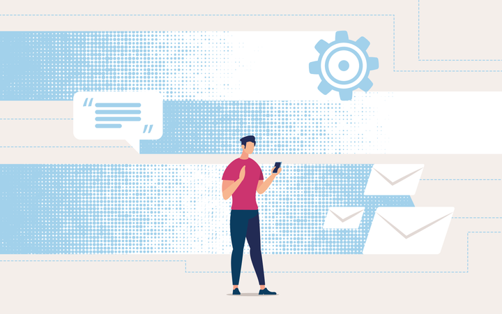 Guy in Casual Clothes Looks in Smartphone Messages and Email Illustration