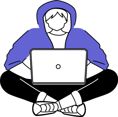 Guy in hoodie with laptop Illustration