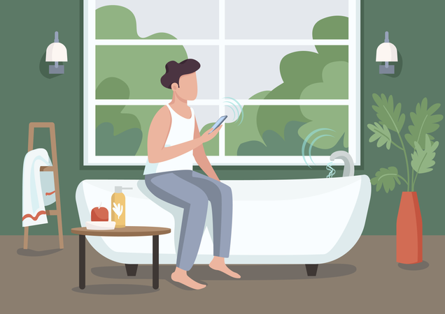 Guy in smart bathroom Illustration