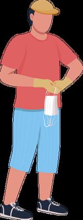 Guy picks up disposable surgical masks Illustration