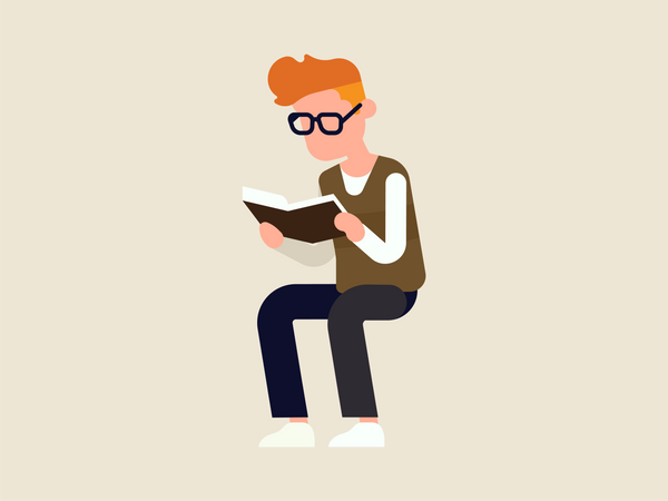 Guy reading book Illustration