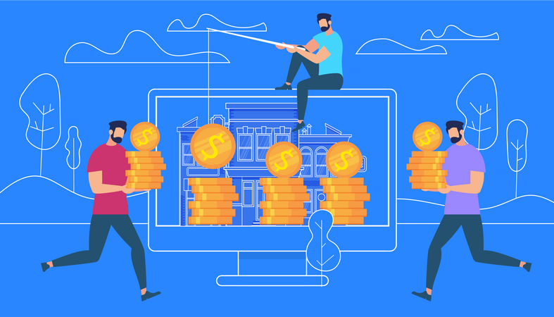 Guy Sitting on Top of PC Catching Money with Rod Illustration