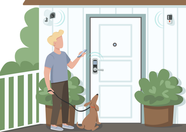 Guy using smart home security Illustration