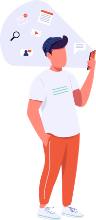 Guy with smartphone Illustration