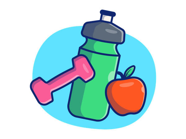 Gym bottle with healthy diet Illustration
