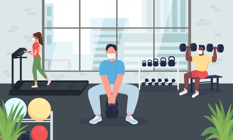 Gym during quarantine Illustration
