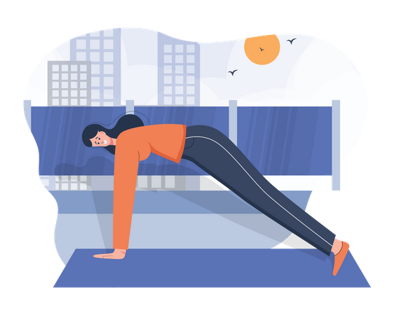 Gym trainer doing exercise Illustration