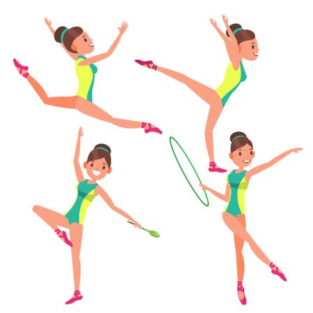 Gymnastics Young Woman Player Illustration
