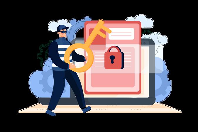 Hacker Attacking on user file Illustration