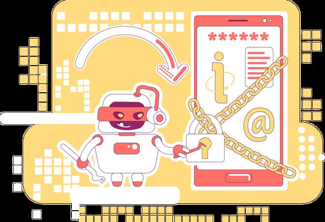 Hacker bot Illustration