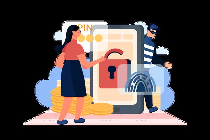Hacker Hacking user phone Illustration