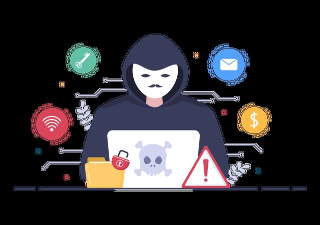Hacker hacking website Illustration