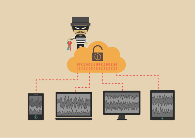 Hacker Send Virus From Cloud To Your Device Beware Illegal Server Flat Style Illustration