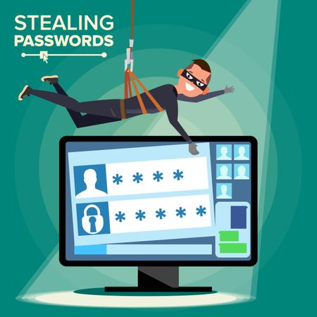 Hacker Stealing Password Illustration