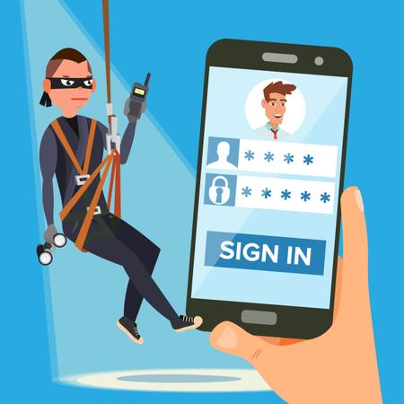 Hacker Stealing Personal Password Illustration