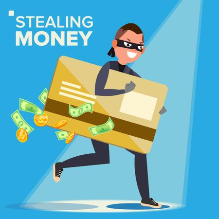 Hacker Stealing Sensitive Data, Money From Credit Card Illustration
