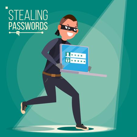 Hacker Stealing Sensitive Data, Money From Laptop. Hacking PIN Code. Hacking Internet Social Network. Breaking, Attacking Illustration