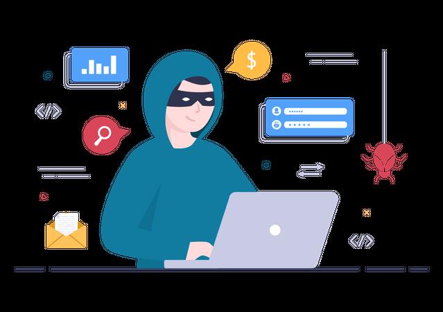 Hacker Stealing user data Illustration